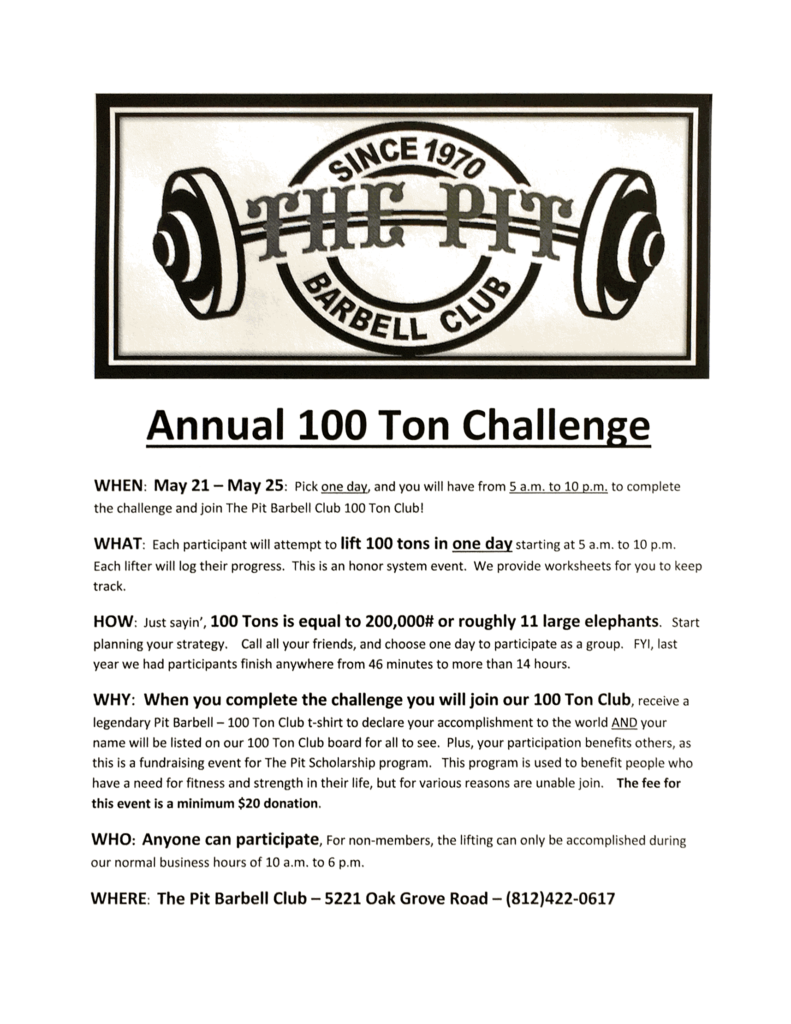 annual 100 ton challenge pic
